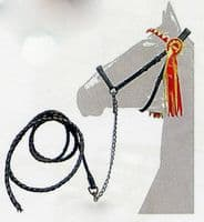 Leather in-hand show bridle or halter with leadrope